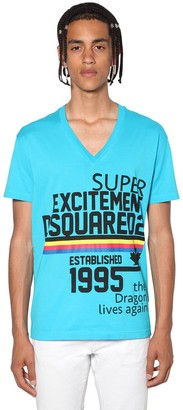 DSQUARED2 V Neck Printed Cotton Jersey T-Shirt