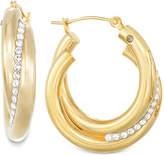 Signature GoldTM Crystal Interlocked Hoop Earrings in 14k Gold over Resin