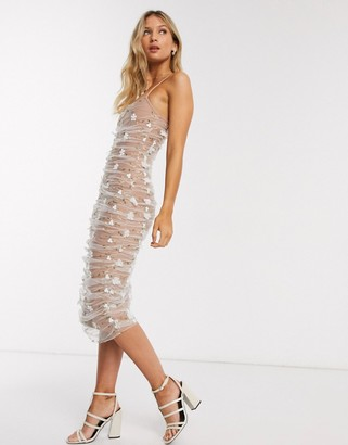 Forever U ruched midi dress with 3d floral