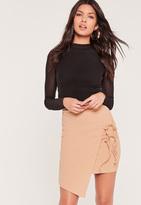 Missguided Double Tie Side Wrap Asymmetric Mini Skirt Nude