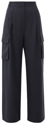 Tibi Crepe Wide-leg Cargo Trousers - Navy