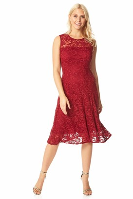 Roman Originals Women Lace Overlay Dress - Ladies Skater Fit and Flare Wedding Guest Smart Semi Formal Stretch Shimmer Lined Metallic Sparkly Sequin Glitter Fitted Swing - Black - Size 20