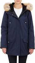 Barneys New York WOMEN'S FUR-TRIMMED HOODED ANORAK-NAVY SIZE S