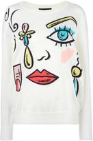 Moschino face pattern jumper - women - Cotton/Virgin Wool - 40