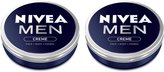 Nivea 2x MEN CREME Cream FACE HAND BODY Moisturiser Dry Skin 75ml TIN by