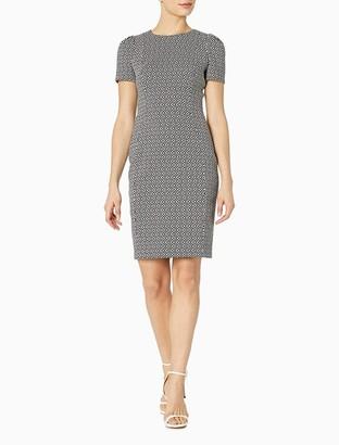 Calvin Klein Jacquard Diamond Puff Sleeve Sheath Dress
