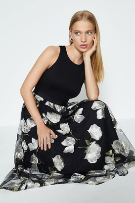 Coast Embroidered Mesh Skirt Midi Dress