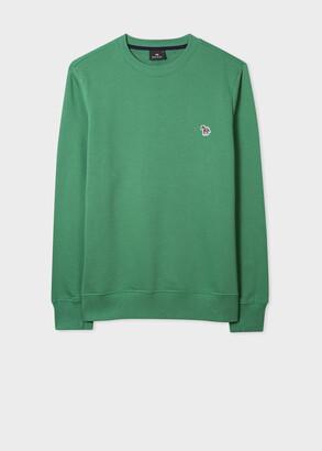 Paul Smith Men's Green Cotton Embroidered Zebra Logo Sweatshirt