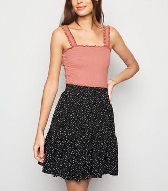 New Look Spot Tiered Mini Skirt