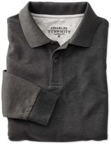 Charles Tyrwhitt Slim Fit Charcoal Pique Long Sleeve Pique Cotton Polo Size XS