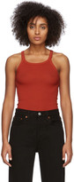 RE/DONE Red Ribbed Tank Top