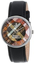 Vivienne Westwood Women's VV020BK Tartan Swiss Quartz Black Leather Strap Watch