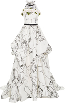 Elizabeth Kennedy Ball Gown With Flocked Abstract Print And Flower Bustier