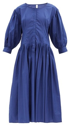 Merlette New York Montague Balloon-sleeve Cotton-poplin Midi Dress - Blue