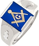 US Jewels And Gems Customizable Solid Back Men's Sterling Silver Gold Masonic Lodge Mason Ring
