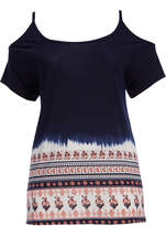 Angels Midnight Navy Geometric-Accent Cold-Shoulder Top - Plus