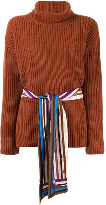 Fendi belted turtleneck jumper