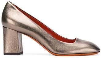 Santoni metallic block-heel pumps