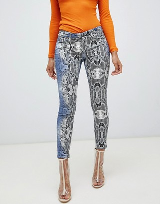 ASOS DESIGN whitby low rise 'skinny' Jeans in snake print