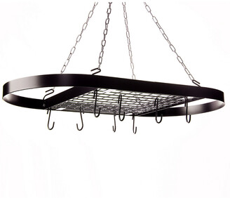 Kinetic Oval Wrought Iron Ceiling Mount Pot Rack In Black