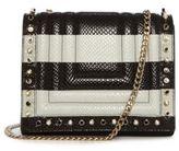 Luana Italy Clio Snake Embossed Leather Striped Crossbody Bag