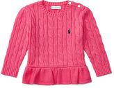 Ralph Lauren Cable Cotton Peplum Sweater