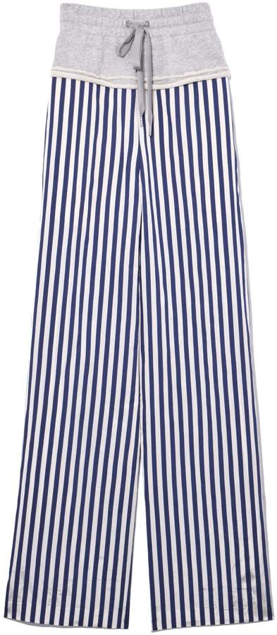 Alexander Wang Terry Stripe Combo Pull On Pant in Grey/Stripe