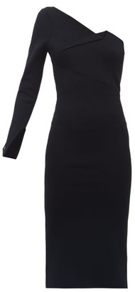 Roland Mouret Roseberry One-shoulder Jersey Midi Dress - Womens - Black