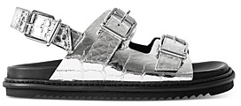 Zadig & Voltaire Crocodile-Embossed Slingback Sandals