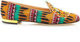 Charlotte Olympia Pyramid Embroidered Canvas Slippers