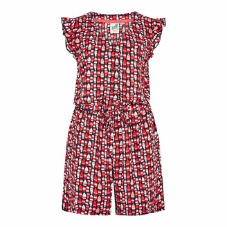 Weird Fish Suzanne Patterned Cap Sleeve Playsuit Radical Red Size 14