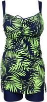 QZUnique Women's Plus Size Printed 2 Pieces Tankini Top & Boyshorts Swimsuits Swimwear 3XL