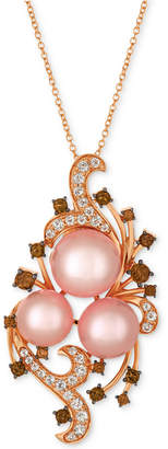 LeVian Le Vian Crazy Collection Pink Cultured Freshwater Pearl (10-11mm) & Multi-Gemstone (1-1/8 ct. t.w.) Pendant Necklace in 14k Rose Gold