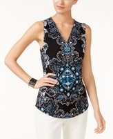 INC International Concepts Petite Printed Zipper-Trim Tank, Created for Macy's