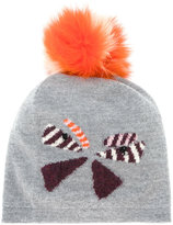 Fendi butterfly pom pom beanie - women - Fox Fur/Virgin Wool - One Size