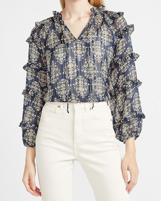 Express Metallic Floral Tiered Balloon Sleeve Top