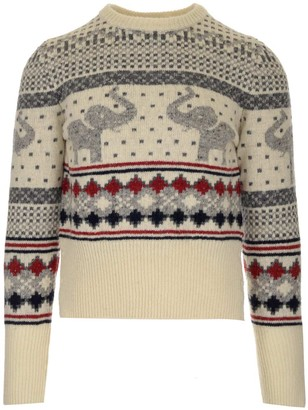 Thom Browne Thome Browne Elephant Intarsia Knitted Sweater