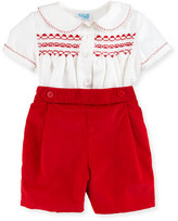 Luli & Me Twill Top w/ Corduroy Shorts, Red, Size 3-24 Months