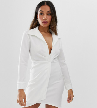 Asos DESIGN petite sexy drape bodycon shirt dress-White
