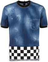DSQUARED2 checkerboard hem denim top - men - Cotton/Elastodiene - 42