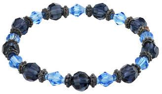 2028 Black-Tone Beaded Stretch Bracelet