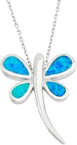 Lab-Created Blue Opal Sterling Silver Dragonfly Pendant Necklace