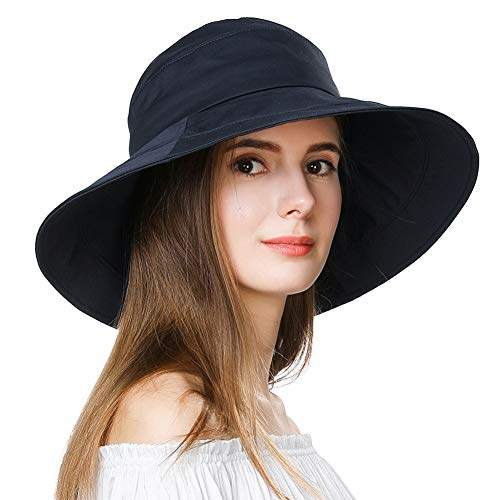 14dd2f73a Jeff & Aimy Sun Hats for Women UPF 50 UV Protection Floppy Packable Wide  Brim Summer Bucket Hiking Sunhat with Chin Strap Stylish Bow Navy Medium