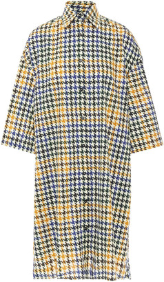 McQ Oversized Houndstooth Cotton-tweed Shirt Dress