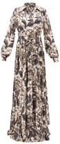 Edward Crutchley Parrot-print Belted Silk-satin Maxi Dress - Womens - Black Multi
