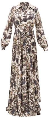 Edward Crutchley Parrot-print Belted Silk-satin Maxi Dress - Womens - Black Multi
