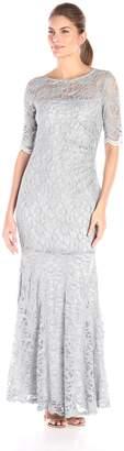 Xscape Evenings Women's Long Side Ruch Long Sleeve Lace Gown