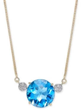 "Macy's London Blue Topaz (7-1/2 ct. t.w.) & Diamond Accent 16"" Pendant Necklace in 14k Gold"