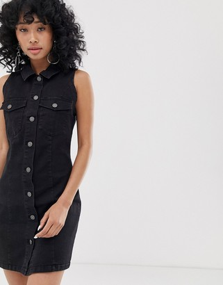 Noisy May button front sleeveless denim mini dress in black
