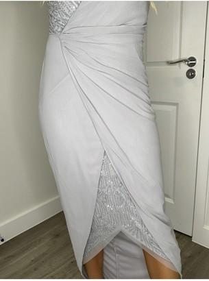 Little Mistress Vikki Grey Embellished Mock Wrap Maxi Dress